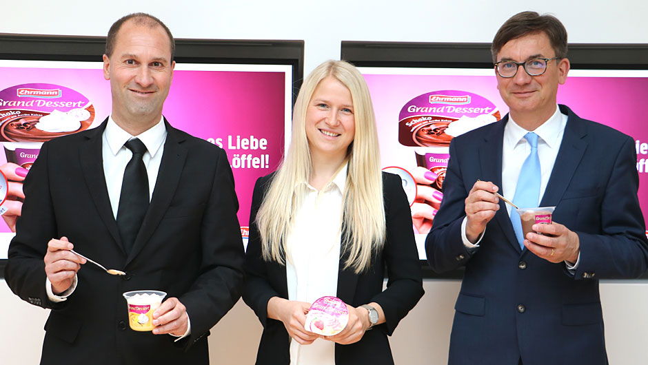 Ehrmann AG, Oberschönegg: Gunther Wanner, Marketingdirektor, Regina Simon, Produktmanagerin, und Jürgen Taubert, Geschäftsführer Vertrieb/Marketing (v.l.).