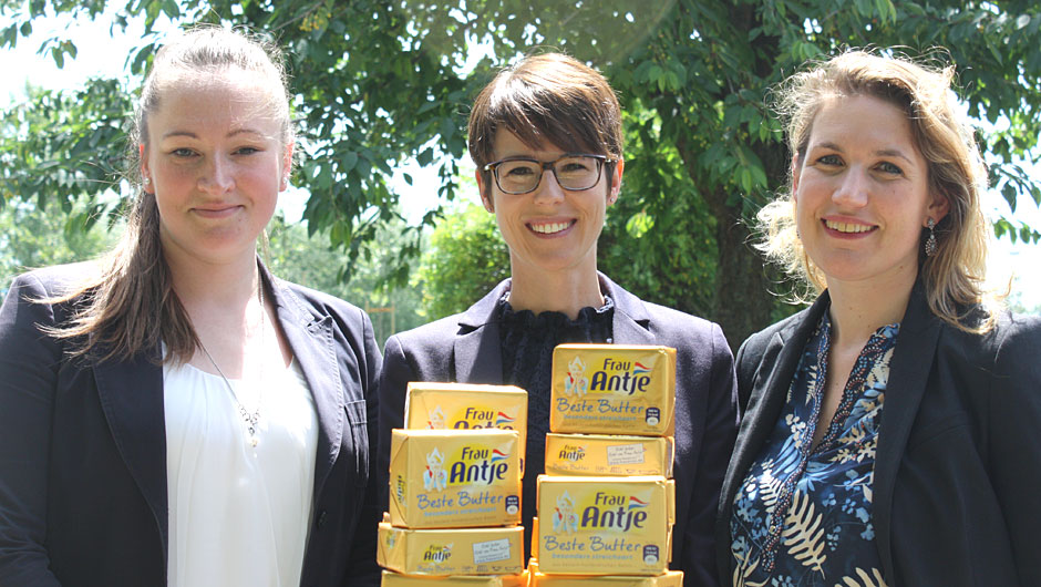 FrieslandCampina Germany GmbH, Heilbronn: Patricia Kick, Junior Shopper Activation Manager, Lisa Hinkel, Senior Brand Manager und Hanneke Pol, Brand Portfolio Manager Cheese & Butter (v.l.).