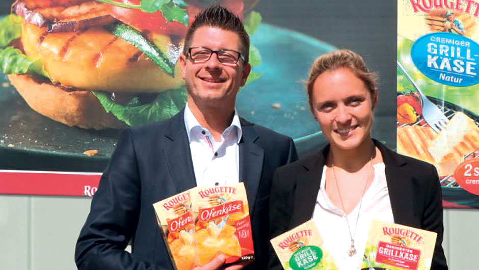 Käserei Champignon Hofmeister GmbH & Co. KG, Lauben: Christoph Engels, Leiter Trade-/Shopper Marketing Group Head Rougette/St. Mang, und Svenja Heiks, Junior Brandmanagerin.