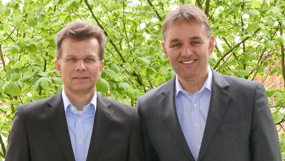 Molkerei Meggle Wasserburg GmbH & Co. KG, Wasserburg: Arnd Weitzel, Group Product Manager (l.) und Dieter Hartmann, Leiter Marketing.