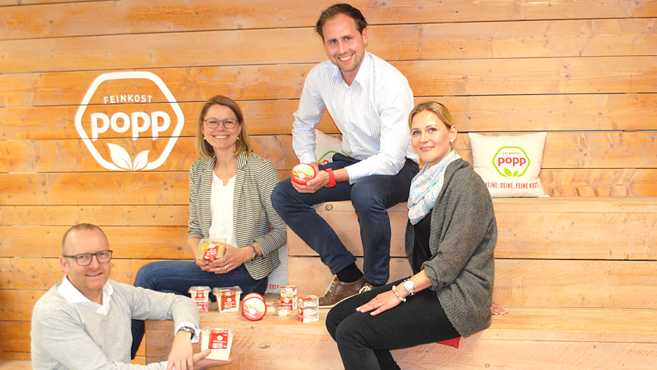 Popp Feinkost GmbH, Kaltenkirchen: Alexander Schmolling, Leitung Marketing, Ann Birthe Larsen Reicherz, Marketing, Hauke Popp, Teamleitung Marke, Bianca Magner, Produktmanagerin (v.l.).
