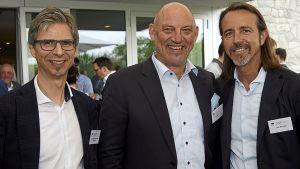 Alexander Kappaurer (Sutterlüty, v.l.), Christoph Ester (Bäro) und Lutz Richrath (Rewe Richrath).