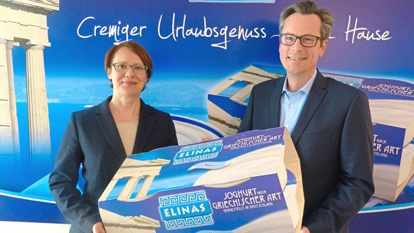 Hochwald Foods GmbH, Thalfang: Ute Bettendorf, Produktmanagerin Elinas, und Volker Lohse, Head of BU National Dairy Products.