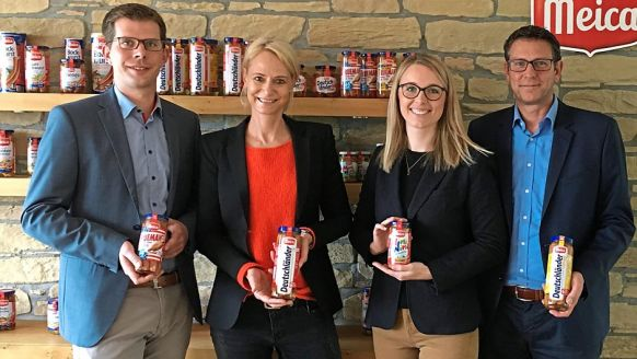 Meica Ammerländische Fleischwaren-KG, Edewecht: Maik Lüttmann, Nationaler Key Account Manager, Andrea Stange, Leitung Marketing, Lea Obernolte, Junior Produktmanagerin, Jens Petzke, Nationaler Key Account Manager (v.l.).