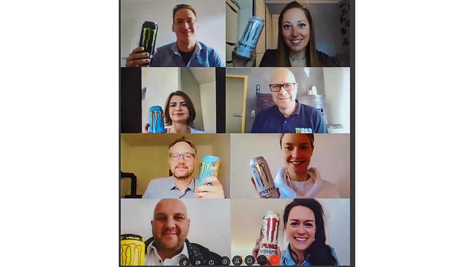 Monster Energy Europe Ltd. German Branch, Berlin: Das Commercial Team mit Andreas Biermann, Natalie Esser, Christof Gemke, Greta Busch, Jörg Wipfler, Julia Held, Marc Blomberg, Janissa Prill (v.l.oben).