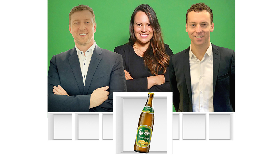 Heineken Deutschland GmbH, Berlin: Jens Stachowiak, Sales Director Off-Trade, Maja Küchler, Brand Manager Gösser, Alexander van Gils, Sales Director Out-of-Home (v.l).
