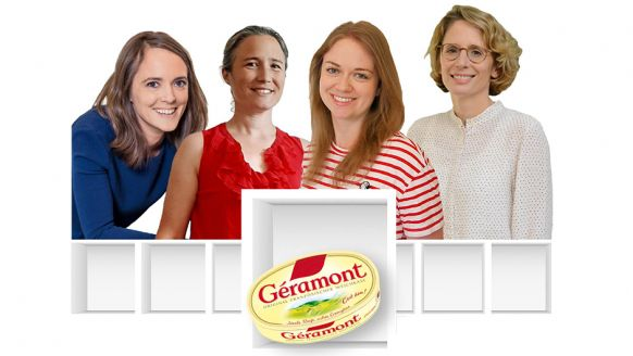 Savencia Fromage & Dairy Deutschland GmbH, Wiesbaden: Cécile Dueymes­-Gascho, Group Brand Manager Soft and Blue Cheese, Aurélie Pelletier, Senior Brand Manager Géramont, Kerstin Gruber, Brand Manager Géramont, Maren Huth, Marketing Director Savencia (v.l.).