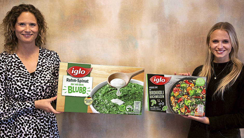 Iglo GmbH, Hamburg: Kirsten Breitenbach, Marketing Manager Side Dish (l.), und Kathleen Hinck, Brand Manager Vegetables & Herbs, auf Corona-Abstand.