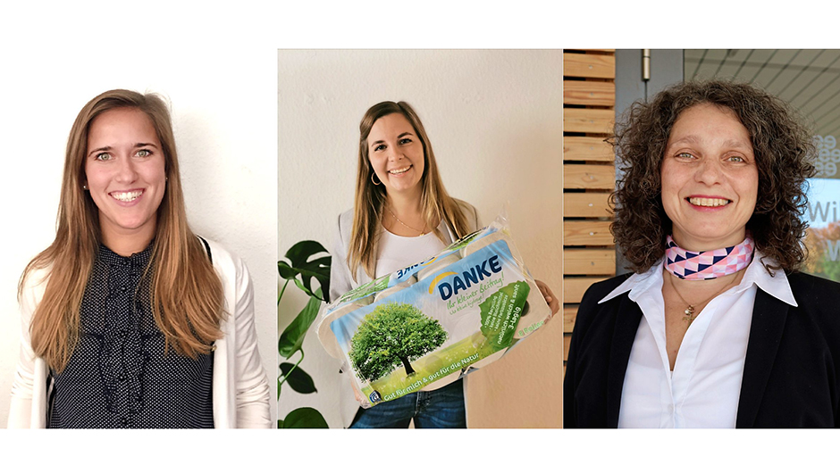 Essity Germany GmbH, Mannheim: Stefanie Batzler-Merk, Brand Manager Bathroom Tissue, Sina Abraham, Jr. Shopper Marketing Manager, Heike Berghoff, Shopper Marketing Leader D-A-CH (v.l.).