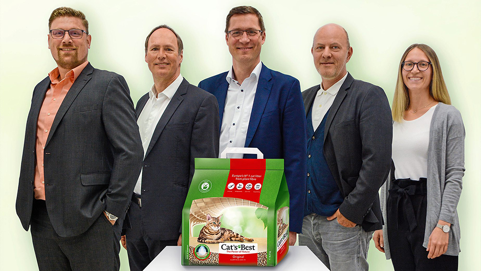 J. Rettenmaier & Söhne GmbH & Co. KG, Rosenberg: Patrick Köble, Head of Business Development D-A-CH, Gerhard Auer, Head of Business Development Global, Michael Bodfeld, Head of International Marketing & Sales, Jochen Winkler, Head of International Marketing Brand Operations, Katja Grimm, Produktmanagerin Cat's Best (v.l.).