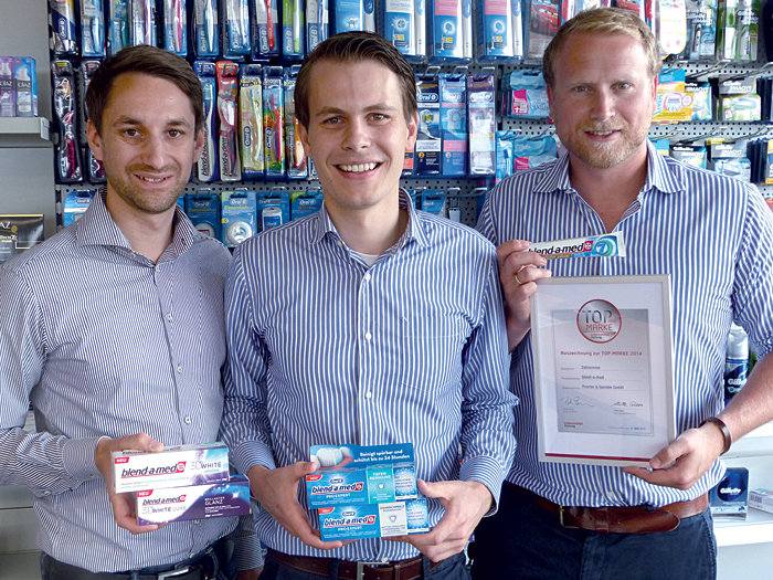 Andreas Odenthal, Category Manager blend-a-med D-A-CH, André Hafner, Senior Category Manager Oral Care D-A-CH, und Christoph Schwerdtle, Senior Brand Manager Oral Care D-A-CH (v.l.n.r.) bei Procter & Gamble.