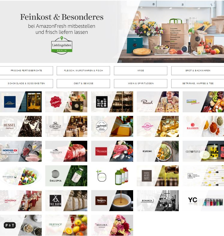 In addition to its own items, Amazon has signed up well-known local merchants to complement its Amazon Fresh service in Berlin.