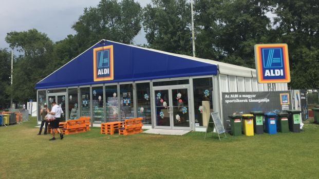 Overview of discounter Aldi's pop up store in Budapest, Hungary.