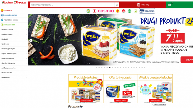 Auchan Direct offers grocery home delivery to customers in the Greater Warsaw area.