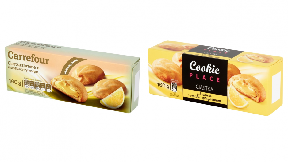Former (left) and new (right) package of lemon curd filled biscuits found on Carrefour Poland's shelves.