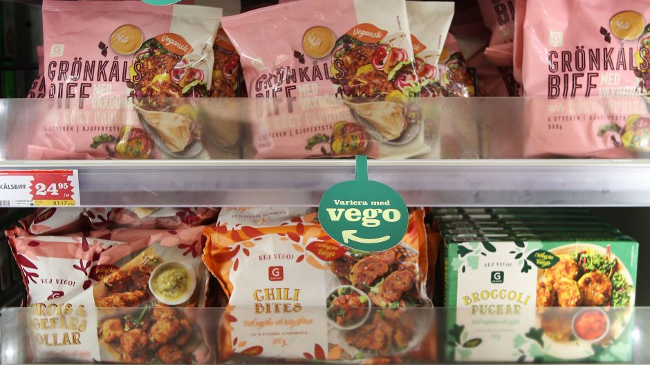 Axfood has a few own frozen vegetarian labels that get a prime position in this dedicated freezer.