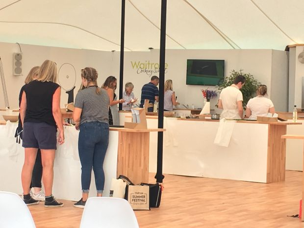 At a pop-up Waitrose Cookery School festival goers were able to sign up for bookable classes to learn to make Pad Thai, cherry pavlova or smoothies. There were also drinks masterclasses in gin, cider, beer and wine.