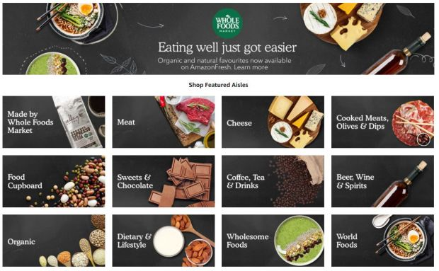 Whole Foods shop in shops are already available online at Amazon Fresh and Prime Now in the US and UK.