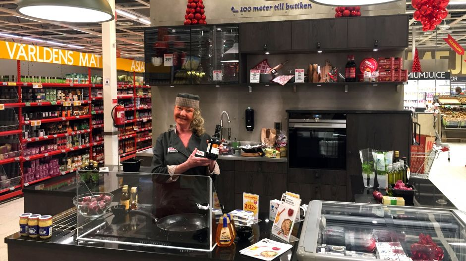 Lisbeth prepares food in the store's demonstration kitchen, Monday to Saturday 12-7pm
