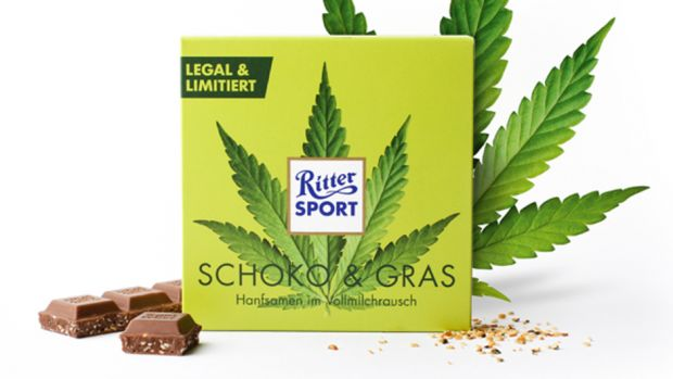 """Hanfsamen im Vollmilchrausch"". Mit einer gewitzten Kampagne im Rahmen des Internationalen Cannabis-Tages hat Ritter-Sport einen kleinen Marketing-Coup gelandet."