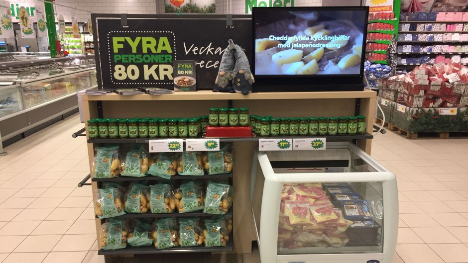 The retailer has introduced meals for four people costing less than SEK80 (EUR8.45) which are being featured in bi-weekly national TV commercials. All the ingredients can then be found co-merchandised together in the stores.