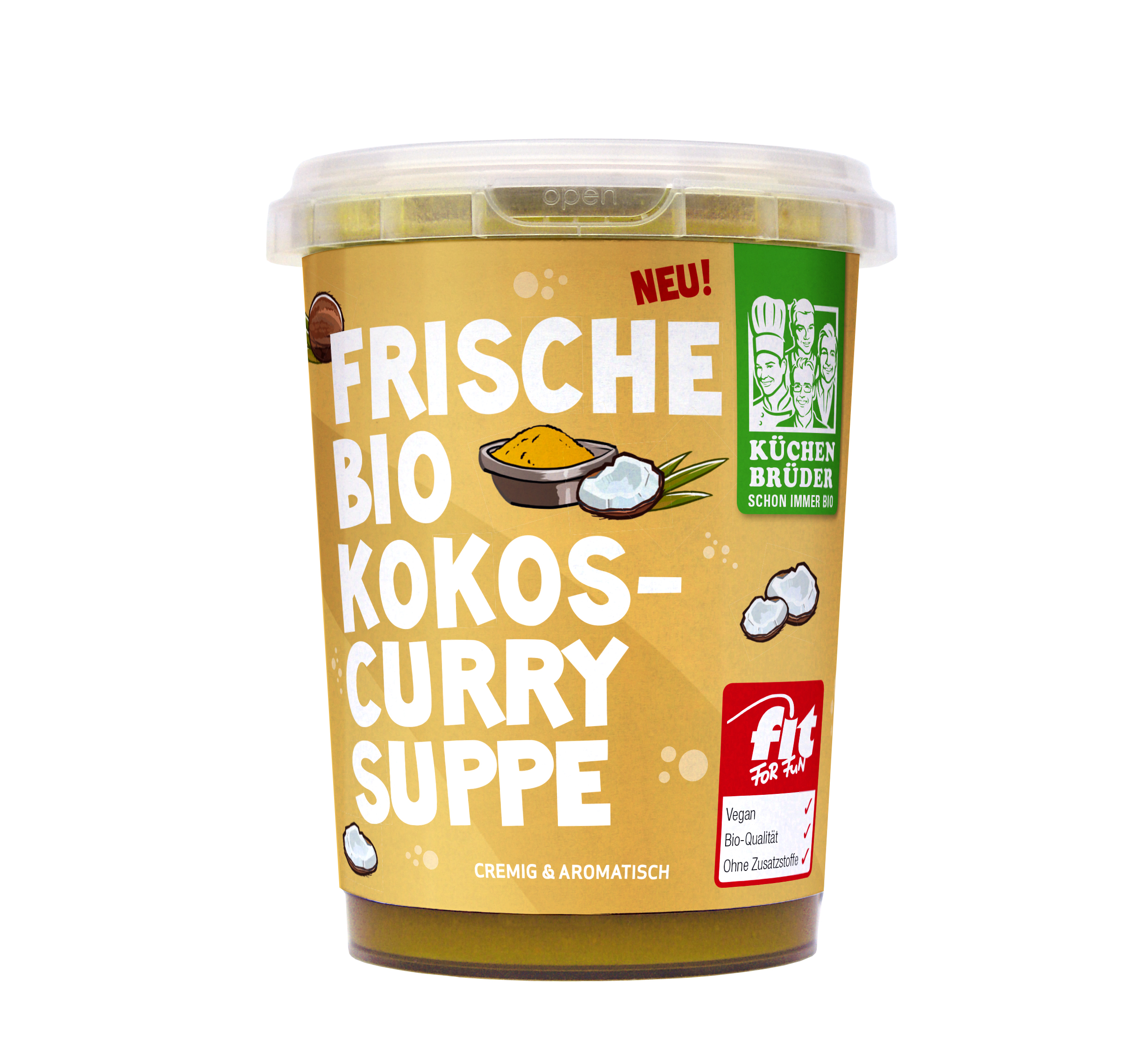 Küchenbrüder Vegane frische Bio Kokos Curry Suppe